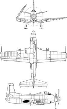 Plan 3 vues du Douglas A2D Skyshark