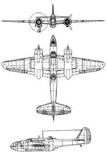 Plan 3 vues du Martin A-30 Baltimore