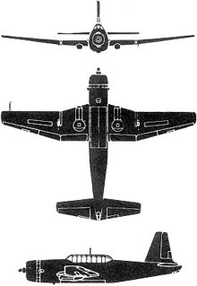 Plan 3 vues du Vultee A-31/A-35 Vengeance