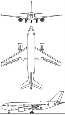 Plan 3 vues du Airbus A310MRTT