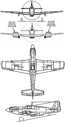 Plan 3 vues du North American A-36 Invader/Apache