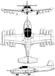 Plan 3 vues du Cessna A-37 Dragonfly