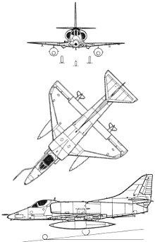 Plan 3 vues du Douglas A-4 Skyhawk