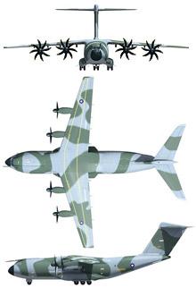 Plan 3 vues du Airbus Military A400M Atlas