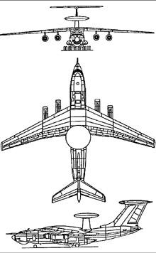Plan 3 vues du Beriev A-50  'Mainstay'