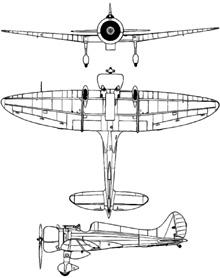 Plan 3 vues du Mitsubishi A5M  'Claude'