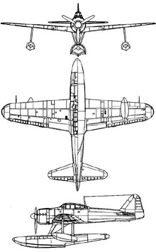 Plan 3 vues du Nakajima A6M2-N  'Rufe'