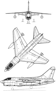 Plan 3 vues du Vought (L.T.V.) A-7 Corsair II