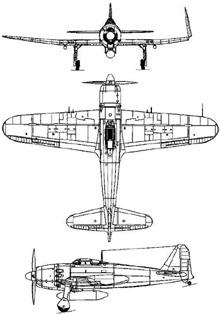 Plan 3 vues du Mitsubishi A7M Reppu 'Sam'