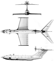 Plan 3 vues du Alekseyev A-90 Orlyonok