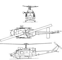 Plan 3 vues du Agusta-Bell AB-212ASW