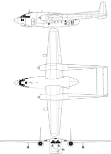 Plan 3 vues du Fairchild AC-119 Shadow / Stinger