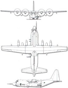 Plan 3 vues du Lockheed AC-130 Spectre