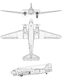 Plan 3 vues du Douglas AC-47 Spooky