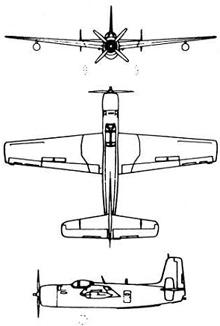 Plan 3 vues du Grumman AF Guardian