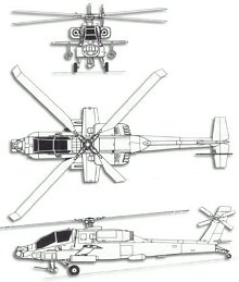 Plan 3 vues du McDonnell-Douglas AH-64 Apache