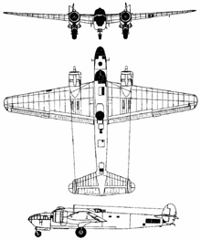 Plan 3 vues du Armstrong Whitworth AW.41 Albemarle