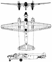 Plan 3 vues du Armstrong Whitworth AW.41 Albemarle