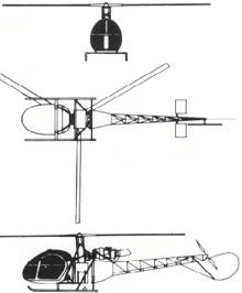 Plan 3 vues du Sud-Est SE.313 Alouette II