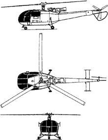 Plan 3 vues du Aérospatiale SA.316 Alouette III