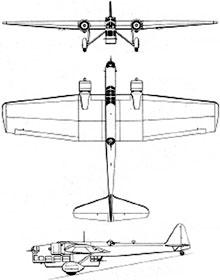 Plan 3 vues du Amiot Am.143