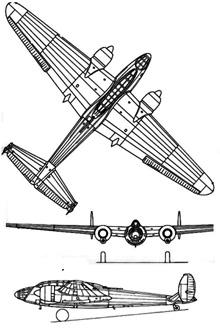 Plan 3 vues du Amiot Am.351/354