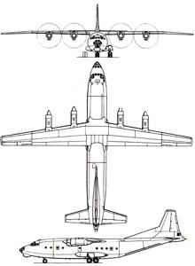 Plan 3 vues du Antonov An-12  'Cub'