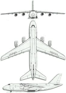 Plan 3 vues du Antonov An-124 Ruslan 'Condor'