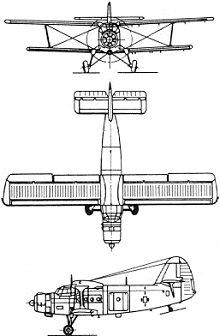 Plan 3 vues du Antonov An-2  'Colt'