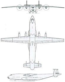 Plan 3 vues du Antonov An-22 Antey 'Cock'