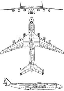 Plan 3 vues du Antonov An-225 Mriya 'Cossack'