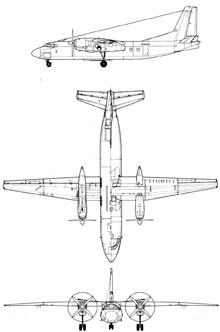 Plan 3 vues du Antonov An-24 'Coke'