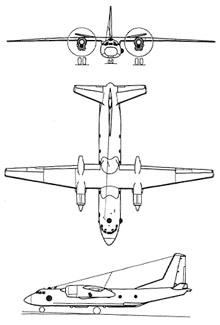 Plan 3 vues du Antonov An-26 'Curl'