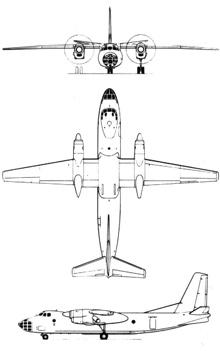 Plan 3 vues du Antonov An-30 'Clank'