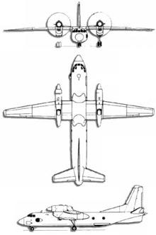 Plan 3 vues du Antonov An-32 'Cline'