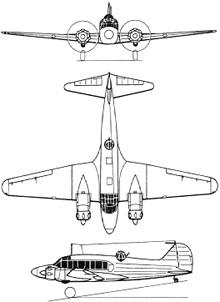 Plan 3 vues du Avro  Anson