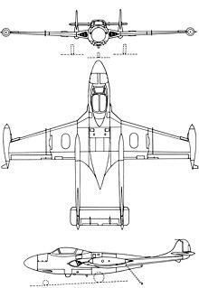 Plan 3 vues du Sud-Est SE.201/202/203 Aquilon