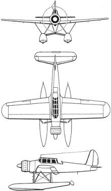 Plan 3 vues du Arado Ar 196