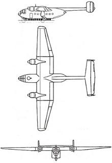 Plan 3 vues du Arado Ar 232