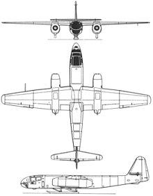 Plan 3 vues du Arado Ar 234 Blitz