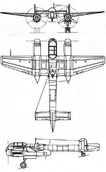 Plan 3 vues du Arado Ar 240