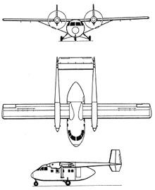 Plan 3 vues du I.A.I. Arava