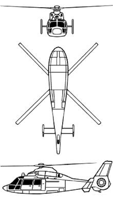 Plan 3 vues du Aérospatiale AS.365 Dauphin 2