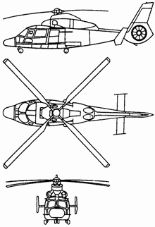 Plan 3 vues du Eurocopter AS.565 Panther