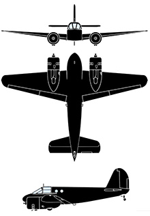 Plan 3 vues du Beechcraft AT-10 Wichita