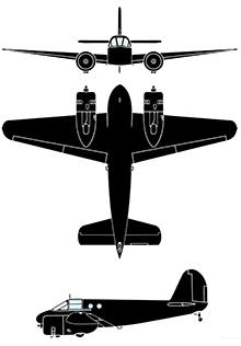 Plan 3 vues du Beechcraft AT-10 Wichita