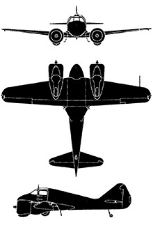 Plan 3 vues du Curtiss AT-9 Jeep