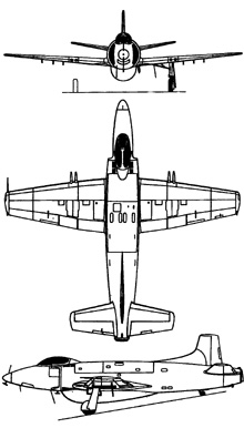 Plan 3 vues du Supermarine  Attacker