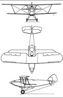 Plan 3 vues du Hawker  Audax
