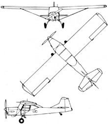 Plan 3 vues du Taylorcraft  Auster A.O.P.